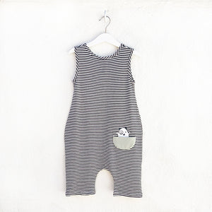 Shop The Woods Bash and Sass minimalist gender neutral unisex childrens fashion clothes kids baby babies super soft tank romper jumpsuit monster black white stripe