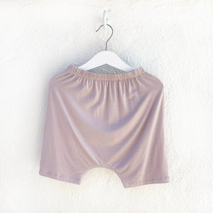 Shop The Woods Bash and Sass minimalist gender neutral unisex childrens fashion clothes kids baby babies super soft hammer shorts shorties harem drop crotch pants monster mocha mauve pink