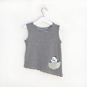 Shop The Woods Bash and Sass minimalist gender neutral unisex childrens fashion clothes kids baby babies super soft asymmetric tank top monster black white stripe