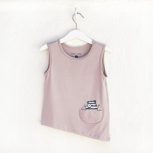 Shop The Woods Bash and Sass minimalist gender neutral unisex childrens fashion clothes kids baby babies super soft asymmetric tank top monster mocha mauve pink