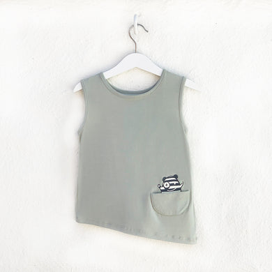 Shop The Woods Bash and Sass minimalist gender neutral unisex childrens fashion clothes kids baby babies super soft asymmetric tank top monster sage green
