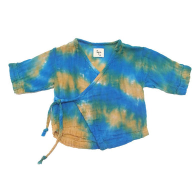 The Woods Nico Nico natural cotton gauze tie dye dyed Kea kimono baby wrap shirt