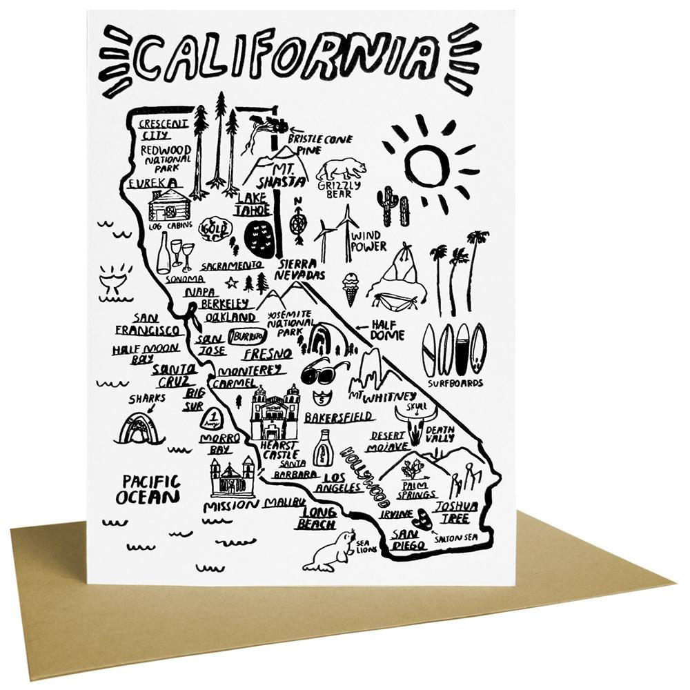 People I've Loved california state map print gift stationery greeting card audrey and olive maternity clothes shop the woods san francisco