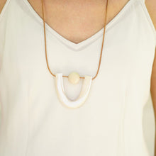 THE WOODS The Moon Designs Callisto necklace clay polymer wood bead leather white storm cream