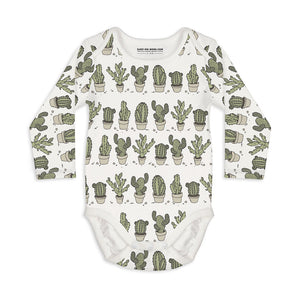 Shop The Woods Sleep No More organic GOTS baby onesie romper bodysuit long sleeve modern print cactus potted pots can't touch this white green unisex gender neutral