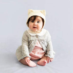 The Woods Elliefunday Ellie Fun Day cat bonnet pilot cap double gauze muslin GOTS organic cotton gender neutral unisex baby shower gift kitty