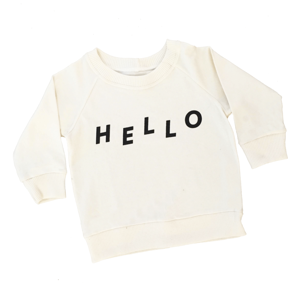 audrey and olive modern maternity clothes - cheerily.co Hello baby sweatshirt in natural cream color