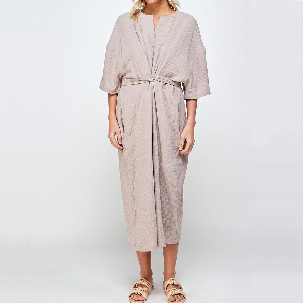 The Woods A mente sustainable cotton gauze half sleeve tie dress taupe mauve pink natural pockets