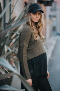 Maternity cropped cable knit sweater by Audrey and Olive clothing