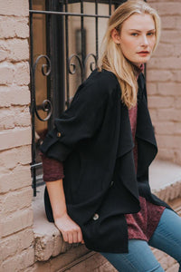 Audrey Olive Maternity open trench coat jacket in khaki or black 3+1 shop the woods san francisco
