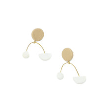 The Woods Brooke Creative Co clay polymer wood earrings arch Ursa Mobile white speckled