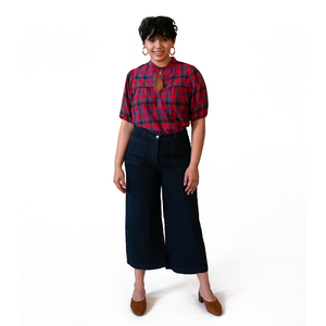 The Woods Loup Simone mom mother jeans dark indigo wide leg cropped pants