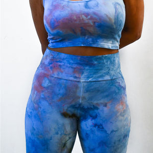 The Woods Mira Blackmantie dye leggings Black Owned oakland sustainable fashion dawn indigo blue