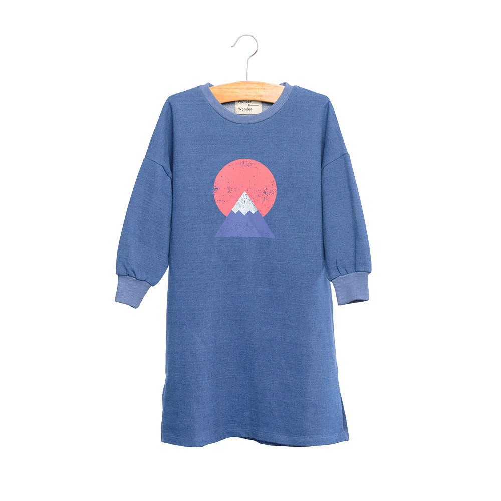 shop the woods kids girls baby wander and wonder hana dress sweatshirt navy denim blue mount fuji japanese japan audrey and olive