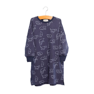 shop the woods kids girls baby wander and wonder hana dress sweatshirt navy blue cat kitty audrey and olive