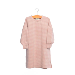 shop the woods kids girls baby wander and wonder hana dress sweatshirt pink petal check audrey and olive
