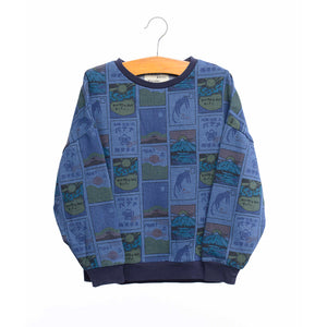 shop the woods kids girls baby wander and wonder denim postcard sweatshirt blue japan japanese audrey and olive
