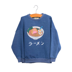 shop the woods kids girls baby wander and wonder ramen sweatshirt sweat shirt denim blue japan japanese audrey and olive