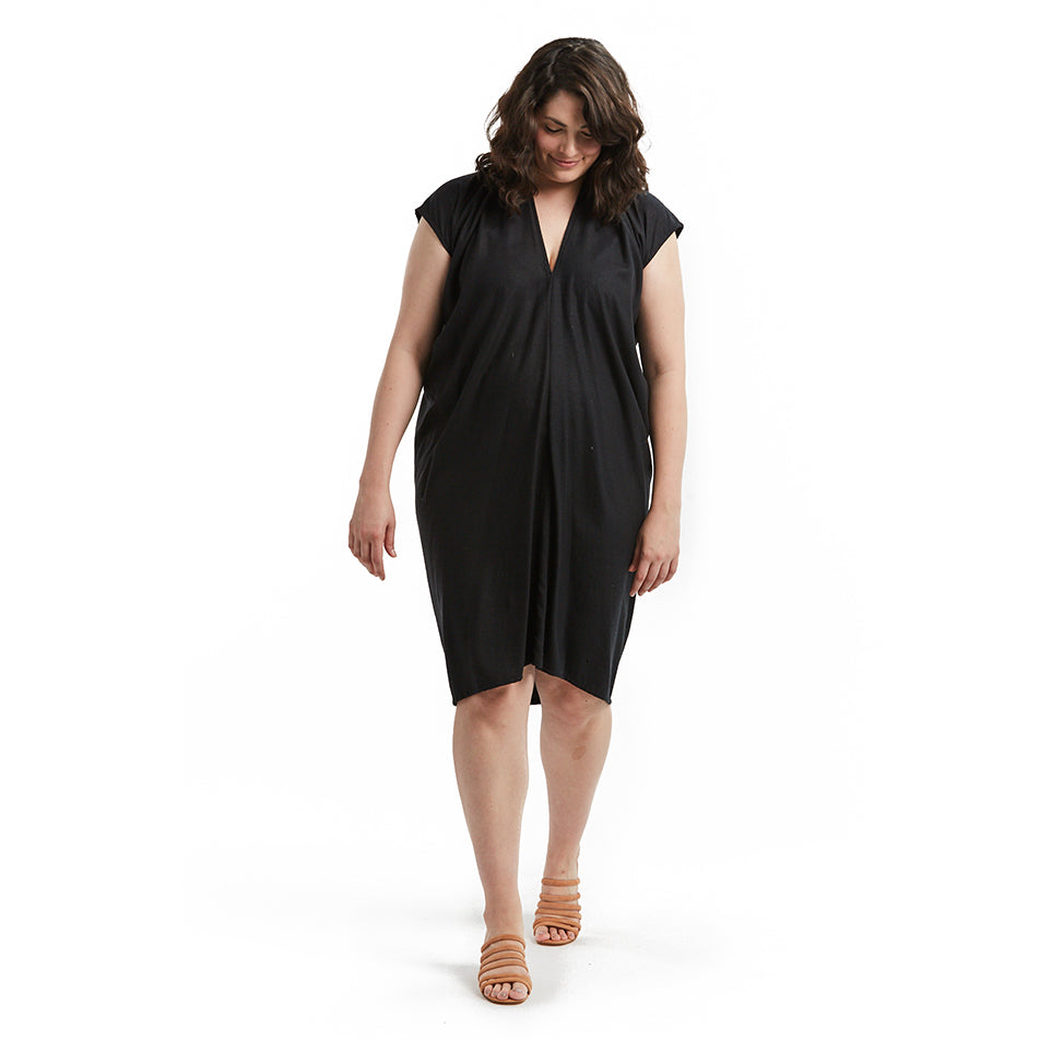 shop the woods miranda bennett everyday dress silk noil black linen natural ethical fashion