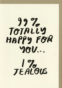 Shop The Woods People I've Loved Oakland printmaker 99% Totally Happy for You 1% Jealous greeting card stationery woman maker