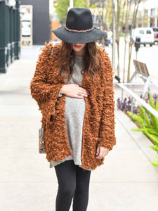 Maternity furry cardigan sweater coat jacket by Audrey and Olive clothing