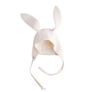 The Woods Elliefunday Ellie Fun Day bonnet pilot cap double gauze muslin GOTS organic cotton gender neutral unisex baby shower gift bunny rabbit