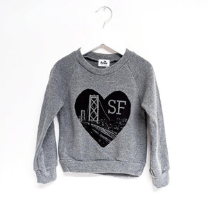 Kira kids heart sf san francisco grey sweatshirt romper baby babies audrey and olive maternity clothes shop the woods