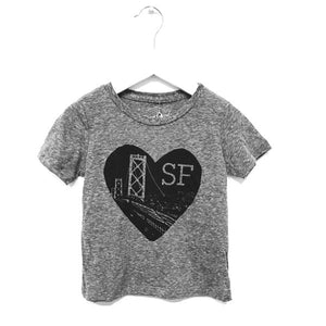 Kira Kids heather grey heart sf tee t-shirt baby babies audrey and olive maternity clothes shop the woods san francisco