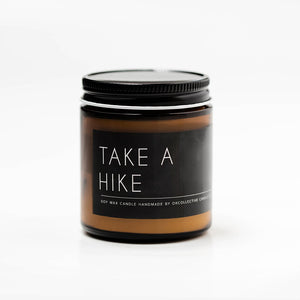 The Woods OKcollective candle co. soy natural cotton wick lead free Take a Hike
