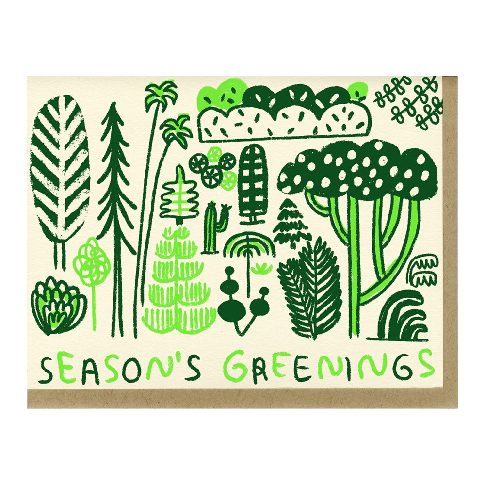 The Woods People I've Loved Carissa Potter printer printmaker handmade oakland gift greeting card holiday christmas season's greetings greenings card