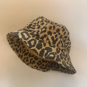 Kids Leopard Canvas Bucket Hat