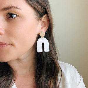 The Woods Brooke Creative Co clay polymer wood earrings arch white speckled limited