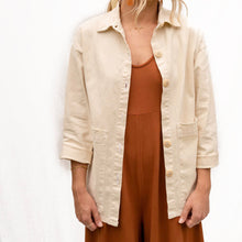 The Woods Mien Studios Painters task jacket women canvas champagne white beige cream ivory