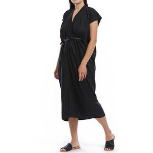 shop the woods miranda bennett everyday KNOT GODDESS DRESS silk noil black linen natural ethical fashion