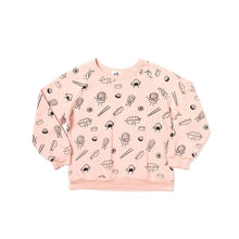 The Woods Kira Kids sushi print raglan crew neck sweatshirt organic cotton softest san francisco blush pink