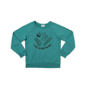 The Woods Kira Kids i like the way you roll sushi graphic raglan crew neck sweatshirt dark turquoise blue organic cotton san francisco