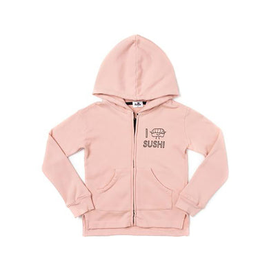The Woods Kira Kids I love sushi graphic zip hoodie sweatshirt organic cotton softest San francisco blush pink