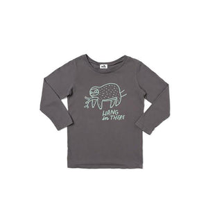 The Woods Kira Kids Sloth hang in there long sleeve tee t-shirt charcoal grey