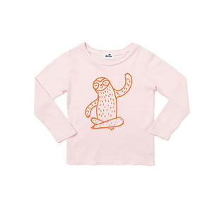 The Woods Kira Kids Sloth long sleeve tee t-shirt powder pink