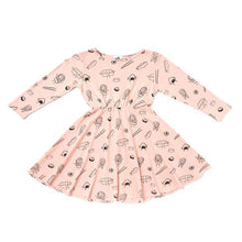 The Woods Kira Kids sushi print skater dress organic cotton softest san francisco long sleeve blush pink peach
