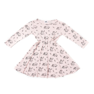 The Woods Kira Kids sloth pring skater dress long sleeve organic cotton softest san francisco powder pink