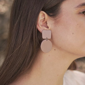 The Woods Hey Moon clay polymer jewelry earrings Lupus terracotta mauve