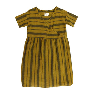 The Woods Nico Nico natural cotton dyed melody wrap dress chartreuse stripe girls kids baby