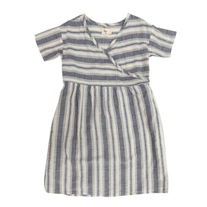 The Woods Nico Nico natural cotton dyed melody wrap dress blue stripe girls kids baby
