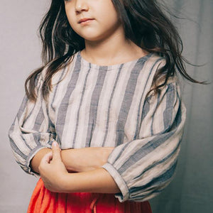 The Woods Nico Nico natural cotton dyed Theodora shirt blouse blue natural stripe girls kids baby