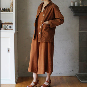 The Woods Mien Studios Painters task jacket women canvas saddle brown