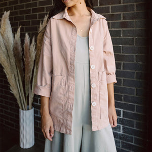 The Woods Mien Studios Painters task jacket women canvas tea rose pink mauve