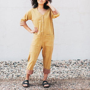 The Woods Happy French Gang jumpsuit yellow mustard himalyan marigold gold natural dye sustainable cotton nursing maternity