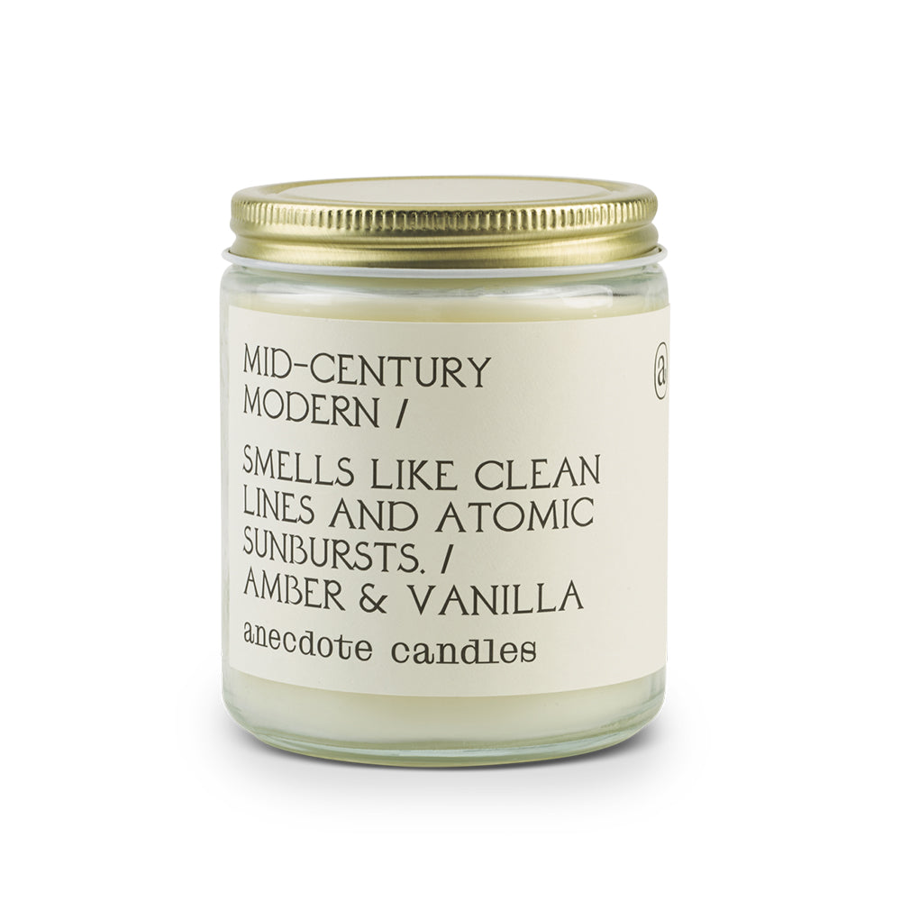 The Woods Anecdote Candles soy wax mid-century modern smells like clean lines atomic sunbursts amber vanilla
