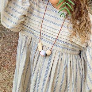 The Woods Hey Moon clay polymer wood leather jewelry necklace Titiana granite kids girls children matching mama mini